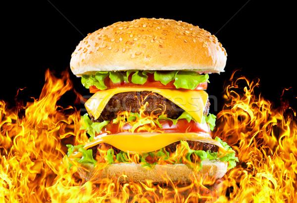 Photo stock: Savoureux · hamburger · feu · sombre · bar · fromages