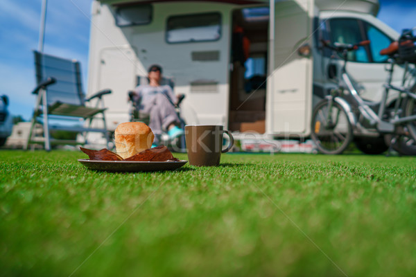 Coffee Mug on grass. Family vacation travel, holiday trip in mot Stock photo © cookelma