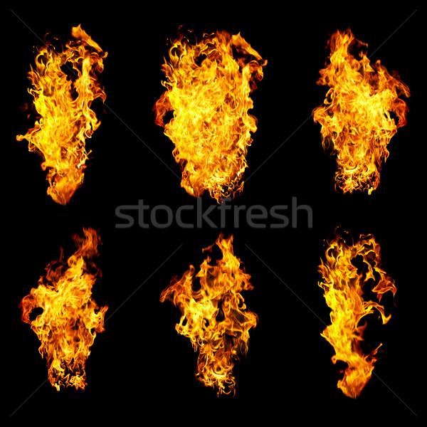 Seis chama fogo foto preto Foto stock © cookelma