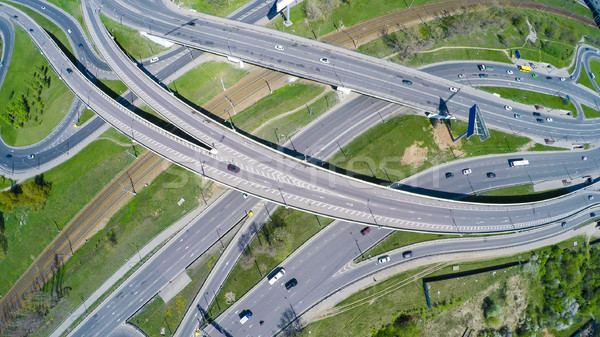 Aerial view of a freeway intersection Stock photo © cookelma