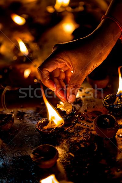 égő gyertyák indiai templom diwali fesztivál Stock fotó © cookelma