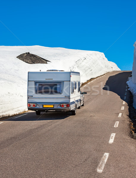 Caravan auto snelweg weg landschap Stockfoto © cookelma