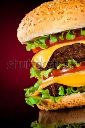 おいしい 食欲をそそる ハンバーガー 暗い 青 バー ストックフォト © cookelma