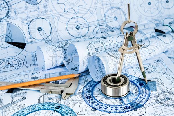 Technische tekeningen Blauw bouw ontwerp technologie Stockfoto © cookelma