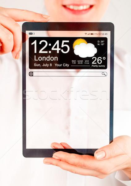 Comprimido transparente tela humanismo mãos exibir Foto stock © cookelma