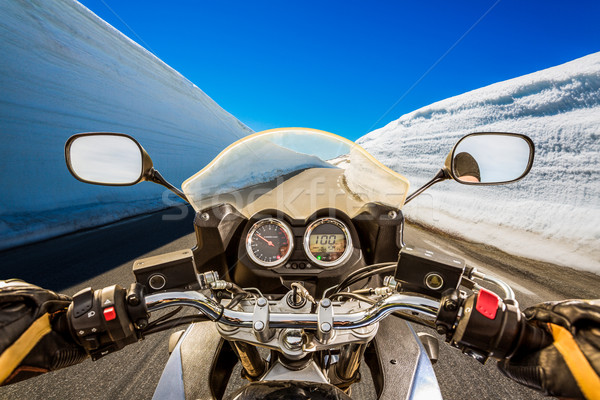 Biker First-person view, mountain serpentine. Stock photo © cookelma