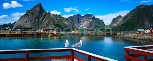 Szigetvilág Norvégia díszlet drámai hegyek nyitva Stock fotó © cookelma