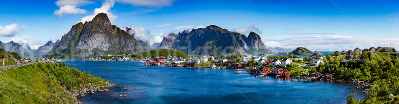 Сток-фото: архипелаг · Панорама · Норвегия · декораций · драматический · гор