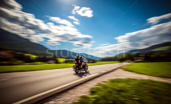 Bemozdult motorosok út pár lovaglás motorkerékpár Stock fotó © cookelma