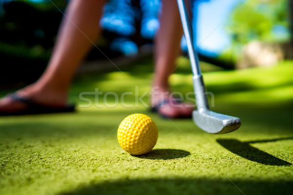 Mini golf citromsárga labda denevér naplemente Stock fotó © cookelma