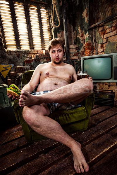еды гамбургер сидят Председатель продовольствие Сток-фото © cookelma