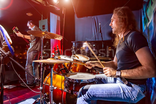 Trommelaar spelen trommel ingesteld fase authentiek Stockfoto © cookelma