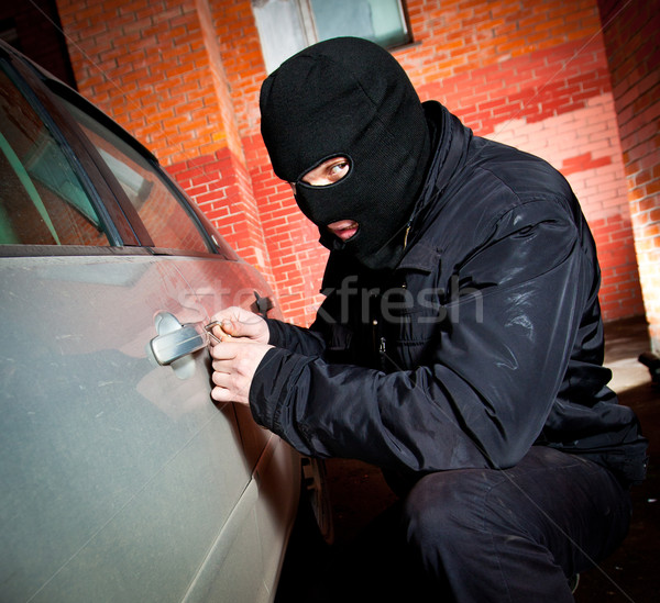 robber and the thief in a mask hijacks the car Stock photo © cookelma