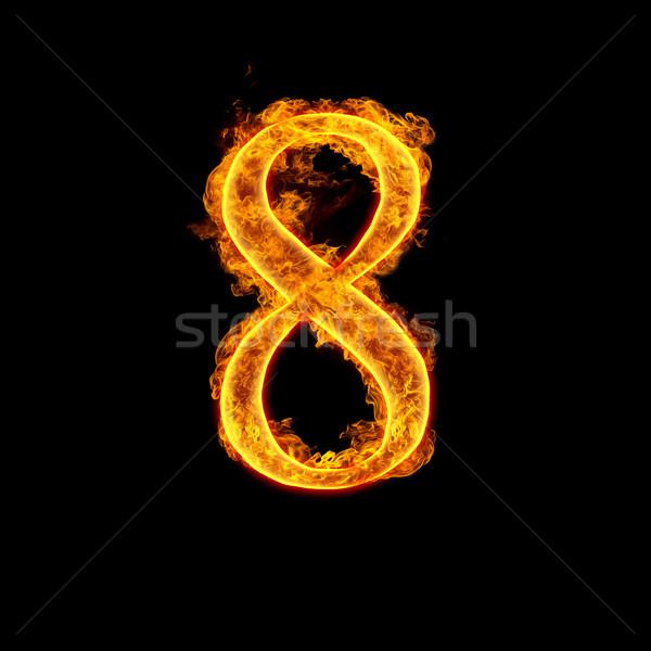Fire alphabet number 8 eight Stock photo © cookelma