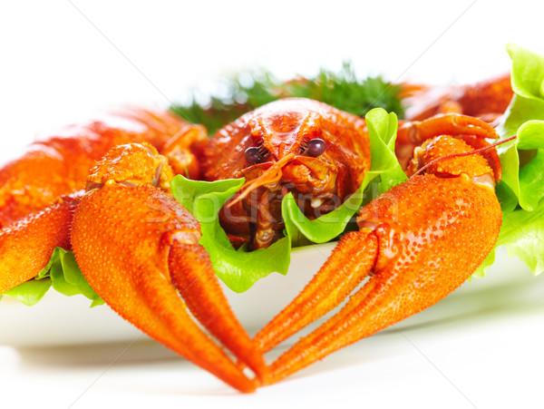 Főtt fehér étel hal vacsora makró Stock fotó © cookelma