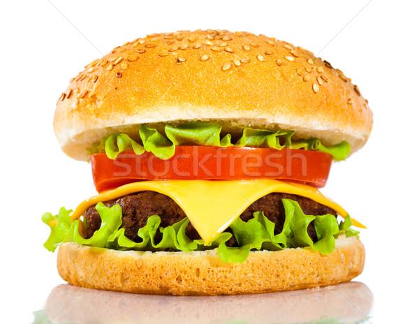 Lezzetli iştah açıcı hamburger beyaz bar peynir Stok fotoğraf © cookelma