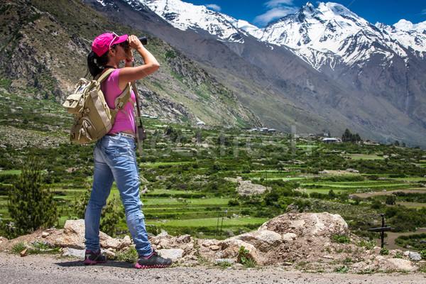 Mujer viajero carretera deporte naturaleza Foto stock © cookelma