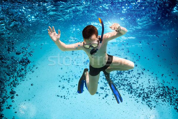 Tinédzser maszk búvárpipa úszás vízalatti tenger Stock fotó © cookelma