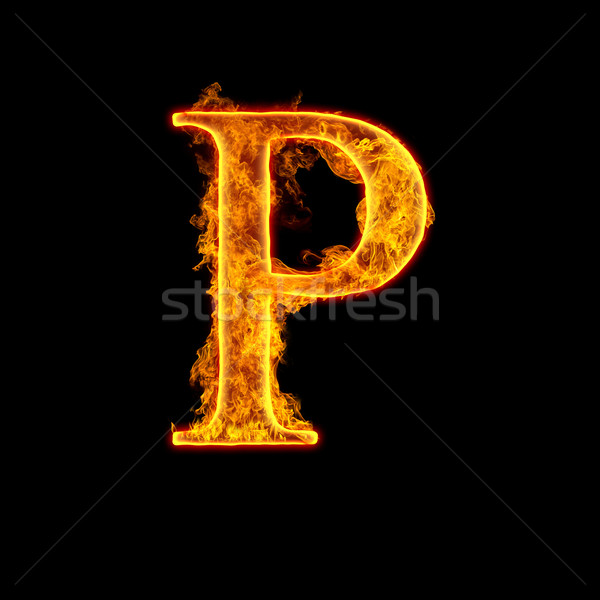 Fire alphabet letter P Stock photo © cookelma