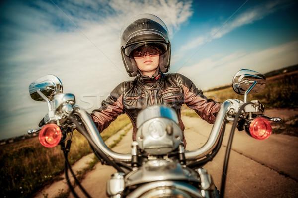 Dziewczyna motocykla kask sexy Zdjęcia stock © cookelma