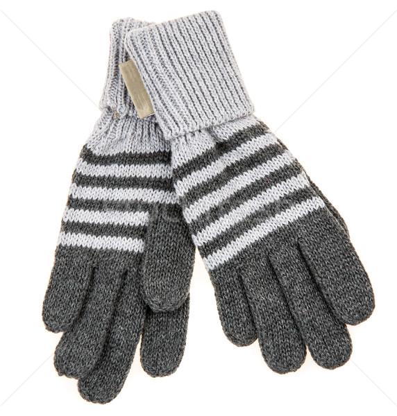 Tricoté laine bébé gants blanche mains Photo stock © cookelma