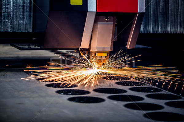 Stock photo: CNC Laser cutting of metal, modern industrial technology.