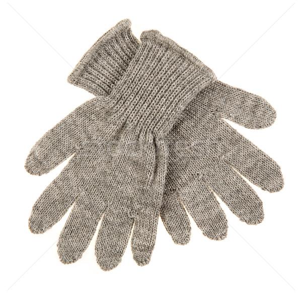 Trykotowy wełniany baby rękawice biały tle Zdjęcia stock © cookelma