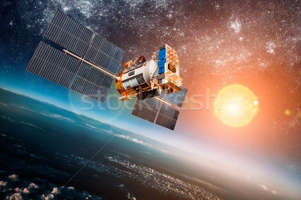 Espaço satélite planeta terra terra estrela sol Foto stock © cookelma