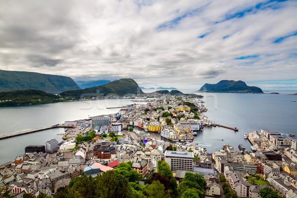 Foto stock: Cidade · Noruega · céu · rua · verão · viajar