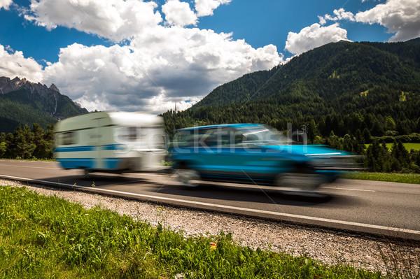 Família férias viajar férias trio caravana Foto stock © cookelma