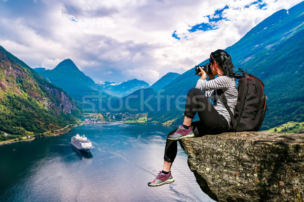 Geiranger fjord, Beautiful Nature Norway panorama. Nature photog Stock photo © cookelma
