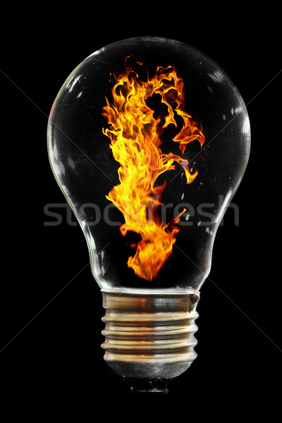 Ampul yangın siyah ışık cam enerji Stok fotoğraf © cookelma