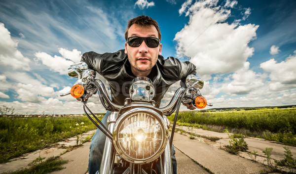Engraçado corrida estrada óculos de sol jaqueta de couro Foto stock © cookelma