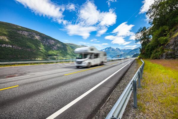 Caravan car travels on the highway. Stock photo © cookelma