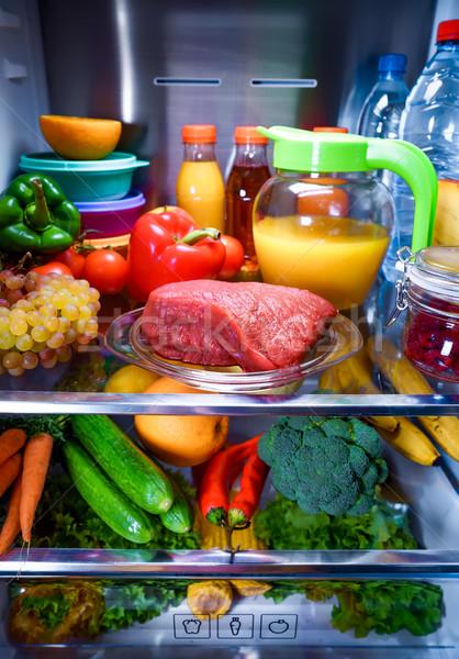 Friss nyers hús polc nyitva hűtőszekrény Stock fotó © cookelma