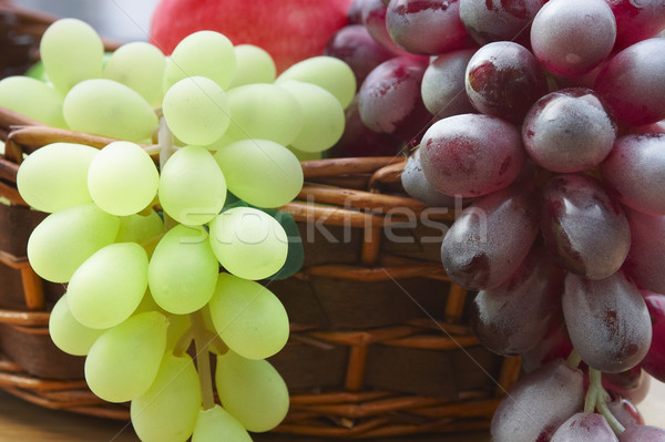 Red and white grape branch in a basket  Stock photo © cookelma