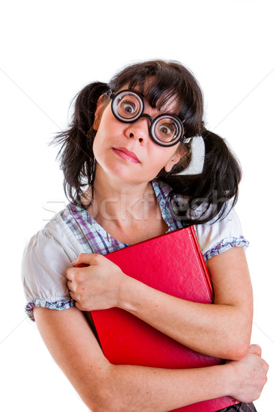 Nerd Student Girl with Textbooks Stock photo © cookelma