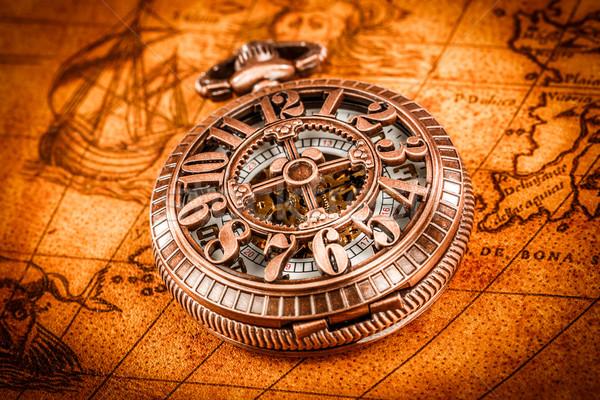 Bağbozumu antika eski dünya haritası harita Stok fotoğraf © cookelma