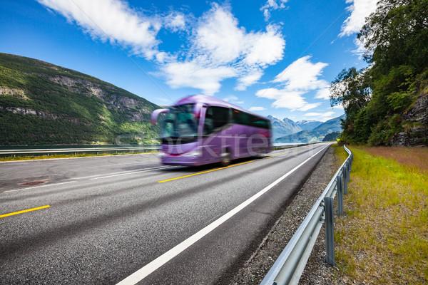 Turísticos autobús carretera Noruega Foto stock © cookelma