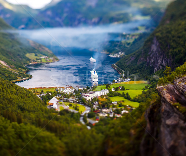 Geiranger fjord, Norway Tilt shift lens. Stock photo © cookelma