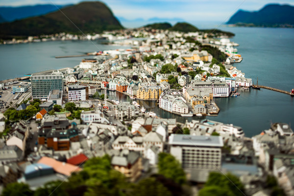 Aksla at the city of Alesund tilt shift lens, Norway Stock photo © cookelma