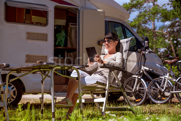 Family vacation travel, holiday trip in motorhome RV Stock photo © cookelma