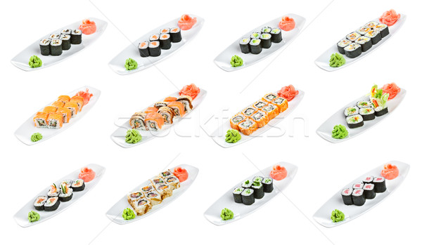 Sushi (Roll Assorted) on a white background Stock photo © cookelma