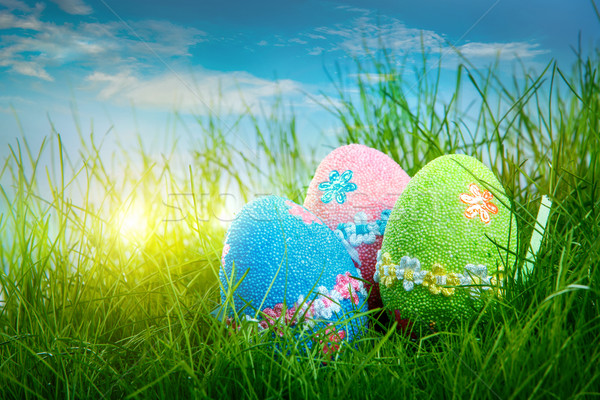 Ingericht paaseieren gras blauwe hemel hemel bloem Stockfoto © cookelma