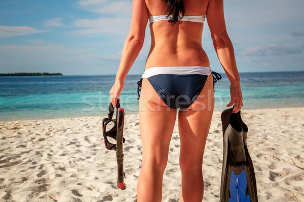 Kız şnorkel dişli bikini plaj Maldivler Stok fotoğraf © cookelma