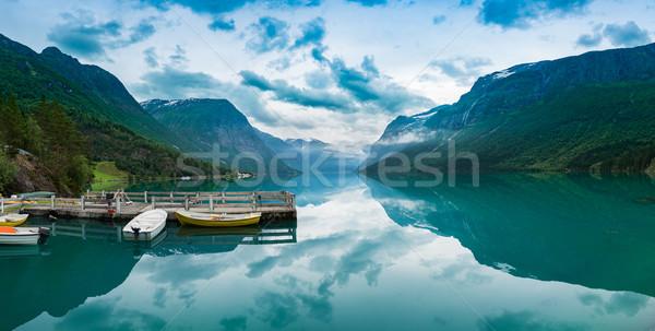 Belo natureza Noruega panorama naturalismo paisagem Foto stock © cookelma