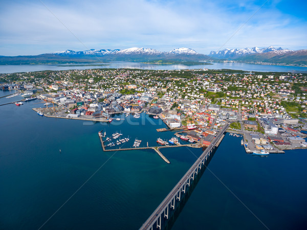 Most miasta Norwegia antena fotografii świat Zdjęcia stock © cookelma