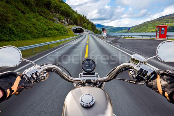 Motoros kilátás Norvégia bejárat alagút vezetés Stock fotó © cookelma