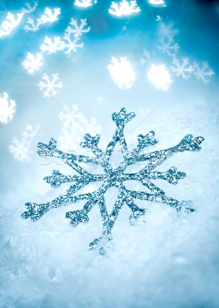 снежинка синий праздник льда зима звездой Сток-фото © cookelma