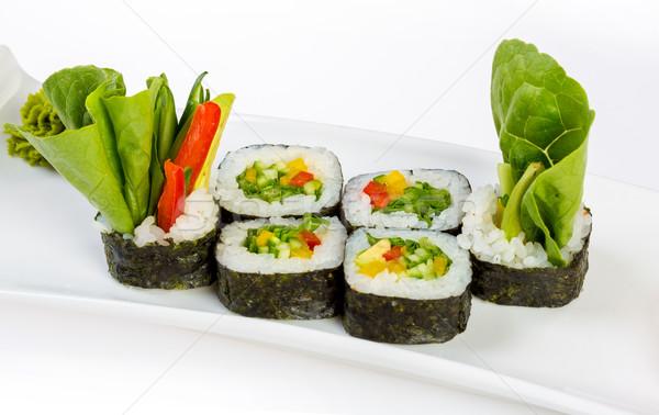 Sushi (Yasai Roll) on a white background Stock photo © cookelma